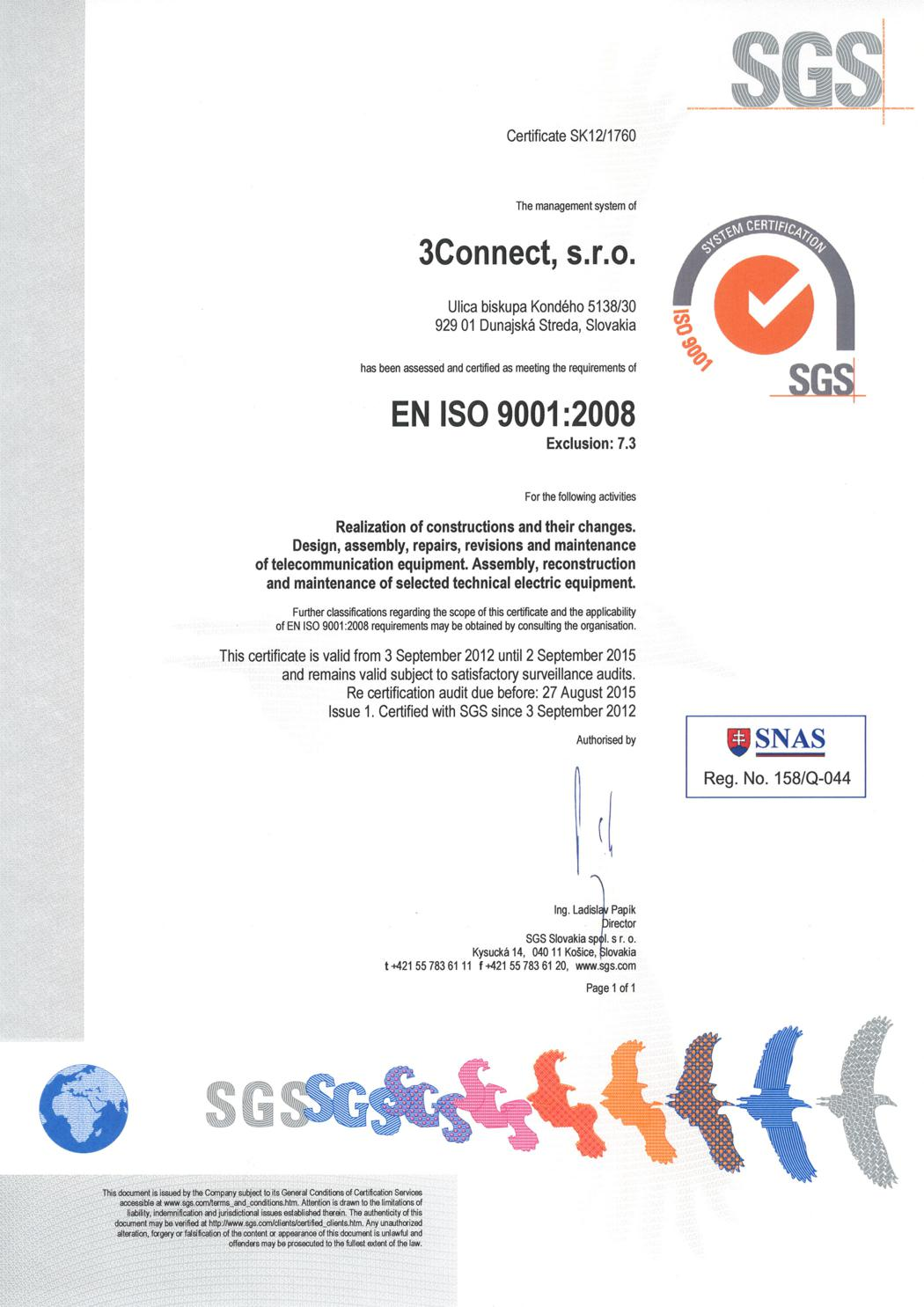 Certification According To En Iso 90012008 3connect